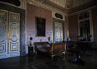 0357343 © Granger - Historical Picture ArchiveART & ARCHITECTURE.   Empire-style bedroom of Francis II (19th century), Royal Palace of Caserta (UNESCO World Heritage List, 1997), Campania, Italy. Detail. Full Credit: De Agostini / G. Sosio / Granger, NYC -- All rights reserved.