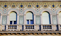 0357612 © Granger - Historical Picture ArchiveART & ARCHITECTURE.   Facade of the Government Palace, 1901-1905, designed by Emil Artman, Trieste, Friuli-Venezia Giulia, Italy. Detail. Full Credit: De Agostini / I. Taborri / Granger, NYC -- All Rights Reserved.