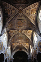 0357705 © Granger - Historical Picture ArchiveART & ARCHITECTURE.   Vaulted ceiling from the central nave of Saint George's Basilica (15th-18th century), Ferrara (UNESCO World Heritage List, 1995), Emilia-Romagna, Italy. Detail. Full Credit: De Agostini / G. Sosio / Granger, NYC -- All Rights Reserved.