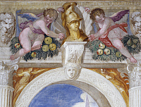 0357763 © Granger - Historical Picture ArchiveART & ARCHITECTURE.   Putti with bust of a hero among mascarons and fruit festoons, 1569-70, fresco by Giovanni Battista Zelotti (1526-1570), Scipio room, Villa Caldogno (UNESCO World Heritage List, 1996), Caldogno, Veneto, Italy. Full Credit: De Agostini / A. Dagli Orti / Granger, NYC -- All rights