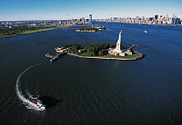 0358141 © Granger - Historical Picture ArchiveART & ARCHITECTURE.   Liberty Island with Ellis Island and Manhattan in the background, New York, United States. Full Credit: De Agostini / S. Vannini / Granger, NYC -- All rights