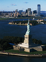 0358142 © Granger - Historical Picture ArchiveART & ARCHITECTURE.   Liberty Island with Ellis Island and Jersey City in the background, New York, United States. Full Credit: De Agostini / S. Vannini / Granger, NYC -- All right