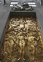 0358154 © Granger - Historical Picture ArchiveART & ARCHITECTURE.   Gilded bas-relief, 5th Avenue, New York, United States. Full Credit: De Agostini / S. Vannini / Granger, NYC -- All Rights Reserved.