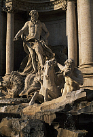 0358290 © Granger - Historical Picture ArchiveART & ARCHITECTURE.   Oceano, placid horse and Triton, detail from the Trevi Fountain (18th century), sculptures by Pietro Bracci (1700-1773), Rome (UNESCO World Heritage List, 1980), Lazio, Italy. Full Credit: De Agostini / S. Vannini / Granger, NYC -- All Rights Reserved.