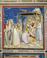 0358357 © Granger - Historical Picture ArchiveART & ARCHITECTURE.   Adoration of the Magi, by Giotto (1267-1337), detail from the cycle of frescoes Life and Passion of Christ, 1303-1305, after the restoration in 2002, Scrovegni Chapel, Padua, Veneto, Italy. Full Credit: De Agostini / A. Dagli Orti / Granger, NYC -- All rights reserved.