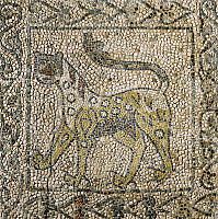 0358424 © Granger - Historical Picture ArchiveART & ARCHITECTURE.   Spotted panther, fragments of 13th century mosaic floors, Church of Saint John the Evangelist (UNESCO World Heritage List, 1996), founded in the 5th century, Ravenna, Emilia-Romagna, Italy. Full Credit: De Agostini / A. Dagli Orti / Granger, NYC -- All rights reserved.