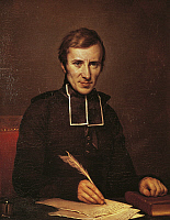 0358473 © Granger - Historical Picture ArchiveART & ARCHITECTURE.   Portrait of Hugues-Felicite Robert de Lamennais (Saint-Malo, 1782 - Paris, 1854), French priest, philosopher and theologian, dean of liberal Catholicism. Oil on canvas, 1827, by Paulin Guerin (1783-1855). Full Credit: De Agostini Picture Library / Granger, NYC -- All rights res