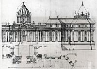 0358512 © Granger - Historical Picture ArchiveART & ARCHITECTURE.   Architectural drawing and plan, detail from the drawing for the Louvre, 1664, by Francois Mansart (baptized in 1598, died in 1666). France, 17th century. Full Credit: De Agostini Picture Library / Granger, NYC -- All Rights Reserved.