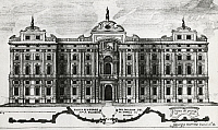 0358535 © Granger - Historical Picture ArchiveART & ARCHITECTURE.   View of the facade of Palazzo Carignano in Turin, 1737, engraving. Italy, 18th century. Full Credit: De Agostini Picture Library / Granger, NYC -- All rights