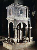 0358603 © Granger - Historical Picture ArchiveART & ARCHITECTURE.   Cosmatesque pulpit in the Church of Saint Peter, Fondi, Lazio, Italy. Full Credit: De Agostini Picture Library / Granger, NYC -- All rights reserved.