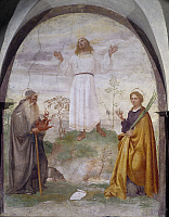 0358794 © Granger - Historical Picture ArchiveART & ARCHITECTURE.   Christ apparition to Saint Anthony the Abbot and Lucy, fresco by Lorenzo Luzzo (1480-1526-27), Church of All Saints, Feltre, Veneto, Italy. Full Credit: De Agostini Picture Library / Granger, NYC -- All rights reserved