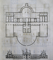 0359035 © Granger - Historical Picture ArchiveART & ARCHITECTURE.   Plan and elevation of Villa Barbaro in Maser, near Treviso, design by Andrea Palladio (1508-1580) taken from the Four Books of Architecture. Italy, 16th century. Full Credit: De Agostini / A. Dagli Orti / Granger, NYC -- All Rights Reserved.