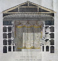 0359080 © Granger - Historical Picture ArchiveART & ARCHITECTURE.   Cross section of the New Theatre in Fano, engraving. Italy, 19th century. Full Credit: De Agostini / A. Dagli Orti / Granger, NYC -- All rights reserved.