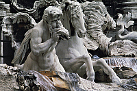 0359105 © Granger - Historical Picture ArchiveART & ARCHITECTURE.   Horse and triton, sculptural group, Trevi Fountain (18th century) by Nicola Salvi, Rome, Lazio, Italy. Full Credit: De Agostini / G. Berengo Gardin / Granger, NYC -- All Rights Reserved.