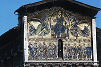 0359267 © Granger - Historical Picture ArchiveART & ARCHITECTURE.   The Ascension of Christ, mosaic on the facade of the Basilica of St Fridianus (12th century), Lucca, Tuscany, Italy. Detail. Full Credit: De Agostini / C. Sappa / Granger, NYC -- All rights reserved.