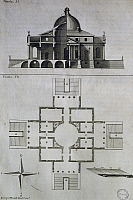 0359359 © Granger - Historical Picture ArchiveART & ARCHITECTURE.   Drawing, cross-section and plan of Villa Almerico Capra, also known as La Rotonda near Vicenza, engraving by Francesco Muttoni (1669-1747) from Architecture of Andrea Palladio Vicenza enriched with tables, Book I, tables XI-XII, 1740-1748, Venice. Italy, 18th century. Full Credit: De Agostini Picture Library / Granger, NYC -- All rights