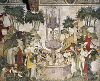 0359388 © Granger - Historical Picture ArchiveART & ARCHITECTURE.   The fountain of youth, detail of 15th century fresco, Castle of Manta, Saluzzo, Piedmont, Italy. Full Credit: De Agostini / A. De Gregorio / Granger, NYC -- All Rights Reserved.