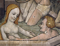 0359392 © Granger - Historical Picture ArchiveART & ARCHITECTURE.   The fountain of youth, detail of 15th century fresco, Castle of Manta, Saluzzo, Piedmont, Italy. Full Credit: De Agostini / A. De Gregorio / Granger, NYC -- All Rights Reserved.
