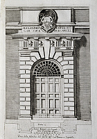 0359758 © Granger - Historical Picture ArchiveART & ARCHITECTURE.   Study for a doorway of the Quirinale Palace, drawing by Jacopo da Vignola (1507-1573), engraving published in 1648. Italy, 17th century. Full Credit: De Agostini Picture Library / Granger, NYC -- All rights reserved.