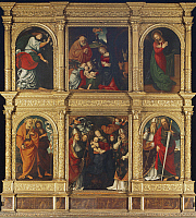 0359948 © Granger - Historical Picture ArchiveART & ARCHITECTURE.   Nativity, Annunciation, 1516, polyptych of San Gaudenzio with Madonna, Child and Saints, by Gaudenzio Ferrari (1475-1546), Church of San Gaudenzio, Novara, Piedmont, Italy. Full Credit: De Agostini Picture Library / Granger, NYC -- All Rights Reserved.