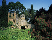 0360288 © Granger - Historical Picture ArchiveART & ARCHITECTURE.   Remains of the church of Santa Maria Maggiore in the WWF naturalistic oasis Gardens of Ninfa, Cisterna di Latina, Lazio, Italy. Full Credit: De Agostini / L. Romano / Granger, NYC -- All rights reserved.