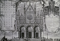 0360293 © Granger - Historical Picture ArchiveART & ARCHITECTURE.   Plan, facade and section of Siena Cathedral, 1719, engraving. Italy, 18th century. Full Credit: De Agostini / A. De Gregorio / Granger, NYC -- All rights rese