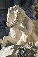 0360337 © Granger - Historical Picture ArchiveART & ARCHITECTURE.   Horse and Triton, detail from the Trevi Fountain (18th century), sculptures by Pietro Bracci (1700-1773), Rome (UNESCO World Heritage List, 1980), Lazio, Italy. Full Credit: De Agostini / S. Vannini / Granger, NYC -- All Rights Reserved.