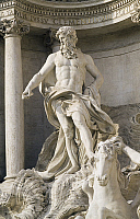 0360350 © Granger - Historical Picture ArchiveART & ARCHITECTURE.   Oceano, detail the Trevi Fountain (18th century), sculptures by Pietro Bracci (1700-1773), Rome (UNESCO World Heritage List, 1980), Lazio, Italy. Full Credit: De Agostini / S. Vannini / Granger, NYC -- All rights reser