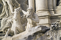 0360351 © Granger - Historical Picture ArchiveART & ARCHITECTURE.   Placid horse and a Triton, detail from the Trevi Fountain (18th century), sculptures by Pietro Bracci (1700-1773), Rome (UNESCO World Heritage List, 1980), Lazio, Italy. Full Credit: De Agostini / S. Vannini / Granger, NYC -- All Rights Reserved.