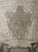 0360839 © Granger - Historical Picture ArchiveART & ARCHITECTURE.   Floor plan of the palace and the garden of Eszterhaza Palace in Fertod, 1760, engraving. Poland, 18th century. Full Credit: De Agostini / A. Dagli Orti / Granger, NYC -- All Rights Reserved.