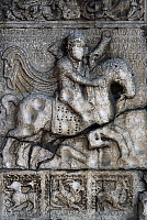 0360851 © Granger - Historical Picture ArchiveART & ARCHITECTURE.   Theodoric hunting a deer, detail from the relief of the door of the Basilica of St Zeno (or San Zeno Maggiore and San Zenone), Verona (UNESCO World Heritage List, 2000), Veneto, Italy. Full Credit: De Agostini / A. De Gregorio / Granger, NYC -- All rights reserved.