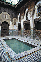 0361255 © Granger - Historical Picture ArchiveART & ARCHITECTURE.   Courtyard, Sahrij Madrasa (14th century), Fez (Unesco World Heritage List, 1981), Fes-Boulemane, Morocco. Full Credit: De Agostini / C. Sappa / Granger, NYC -- All Rights Reserved.