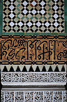 0361256 © Granger - Historical Picture ArchiveART & ARCHITECTURE.   Decorative elements, Medersa mosque (14th-20th century), Fez el Bali (Unesco World Heritage List, 1981), Fes-Boulemane, Morocco. Detail. Full Credit: De Agostini / C. Sappa / Granger, NYC -- All rights reserved.