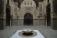 0361257 © Granger - Historical Picture ArchiveART & ARCHITECTURE.   Courtyard with fountain, Al-Attarine Madrasa (14th century), Fez el Bali (Unesco World Heritage List, 1981), Fes-Boulemane, Morocco. Full Credit: De Agostini / C. Sappa / Granger, NYC -- All rights reserved.