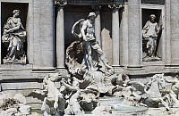 0361463 © Granger - Historical Picture ArchiveART & ARCHITECTURE.   Oceanus driving a shell-shaped chariot being pulled by winged horses and tritons, flanked by the statues of Salubrity and Abundance, Trevi Fountain (18th century) by Nicola Salvi, Rome, Lazio, Italy. Full Credit: De Agostini / G. Carfagna / Granger, NYC -- All rights reserved.