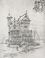 0361504 © Granger - Historical Picture ArchiveART & ARCHITECTURE.   Architectural drawing of Villino Florio in Olivuzza, near Palermo, 1900, by Ernesto Basile (1857-1932), pencil drawing. Italy, 20th century. Full Credit: De Agostini Picture Library / Granger, NYC -- All rights reserve