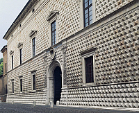 0361852 © Granger - Historical Picture ArchiveART & ARCHITECTURE.   Palazzo dei Diamanti (15th century), rusticated exterior, Ferrara (UNESCO World Heritage List, 1995), Emilia-Romagna, Italy. Full Credit: De Agostini / A. Dagli Orti / Granger, NYC -- All rights reserved.