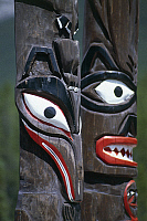 0361878 © Granger - Historical Picture ArchiveART & ARCHITECTURE.   Indian totems, Ksan Historical Village and Museum, near Hazelton, British Columbia, Canada. Detail. Full Credit: De Agostini / G. Carfagna / Granger, NYC -- All Rights Reserved.