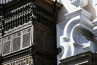 0361892 © Granger - Historical Picture ArchiveART & ARCHITECTURE.   Bay window in wood and decorative door, detail from the facade, Torre Tagle Palace (18th century), headquarters of the Ministry of Foreign Affairs, Historic Centre of Lima (Unesco World Heritage List, 1991), Lima, Peru. Full Credit: De Agostini / S. Buonamici / Granger, NYC -- All Rights Reserved.