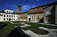 0361943 © Granger - Historical Picture ArchiveART & ARCHITECTURE.   Courtyard of the Abbey of Santa Maria in Sylvis, founded in the 8th century, Sesto al Reghena, Friuli-Venezia Giulia, Italy. Full Credit: De Agostini / C. Gerolimetto / Granger, NYC -- All rights reserved.