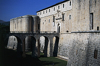 0362131 © Granger - Historical Picture ArchiveART & ARCHITECTURE.   Bridge and entrance to Forte Spagnolo (16th century), L'Aquila, Abruzzo, Italy. Full Credit: De Agostini / S. Montanari / Granger, NYC -- All rights reserved.