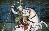 0362428 © Granger - Historical Picture ArchiveART & ARCHITECTURE.   St George slaying the dragon (1415), fresco in the courtyard of Fenis Castle (13th-18th century), Valle d'Aosta, Italy. Detail. Full Credit: De Agostini / S. Vannini / Granger, NYC -- All rights reserved.