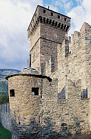 0362491 © Granger - Historical Picture ArchiveART & ARCHITECTURE.   Tower on the west side of Fenis Castle (13th-18th century), Valle d'Aosta, Italy. Full Credit: De Agostini / S. Vannini / Granger, NYC -- All rights reserved.