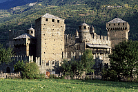0362492 © Granger - Historical Picture ArchiveART & ARCHITECTURE.   Fenis Castle (13th-18th century), Valle d'Aosta, Italy. Full Credit: De Agostini / S. Vannini / Granger, NYC -- All Rights Reserved.