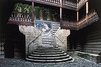 0362496 © Granger - Historical Picture ArchiveART & ARCHITECTURE.   Circular staircase and fresco of St George slaying the dragon (1415), courtyard of Fenis Castle (13th-18th century), Valle d'Aosta, Italy. Full Credit: De Agostini / S. Vannini / Granger, NYC -- All rights reserved.