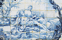 0362713 © Granger - Historical Picture ArchiveART & ARCHITECTURE.   Female figures, azulejos tiles, Estoi Palace (19th century), Estoi, Faro district, Algarve, Portugal. Full Credit: De Agostini / W. Buss / Granger, NYC -- All Rights Reserved.