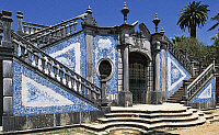 0362714 © Granger - Historical Picture ArchiveART & ARCHITECTURE.   Entrance to Estoi Palace (19th century) decorated with azulejos tiles, Estoi, Faro district, Algarve, Portugal. Full Credit: De Agostini / W. Buss / Granger, NYC -- All Rights Reserved.