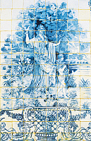 0362715 © Granger - Historical Picture ArchiveART & ARCHITECTURE.   Female figure among the vegetation, azulejos tiles, Estoi Palace (19th century), Estoi, Faro district, Algarve, Portugal. Full Credit: De Agostini / W. Buss / Granger, NYC -- All rights reserved.