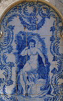 0362717 © Granger - Historical Picture ArchiveART & ARCHITECTURE.   Female figure, azulejos tiles, Estoi Palace (19th century), Estoi, Faro district, Algarve, Portugal. Full Credit: De Agostini / W. Buss / Granger, NYC -- All Rights Reserved.