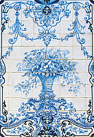 0362718 © Granger - Historical Picture ArchiveART & ARCHITECTURE.   Vase of flowers, azulejos tiles, Estoi Palace (19th century), Estoi, Faro district, Algarve, Portugal. Full Credit: De Agostini / W. Buss / Granger, NYC -- All Rights Reserved.